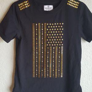 2/$25 Akademiks Black Tshirt w/ Gold Studs 10/12